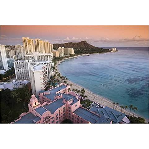 Impresión en madera 100 x 70 cm: Waikiki Beach from above de John Elk III / Lonely Planet Images / Getty