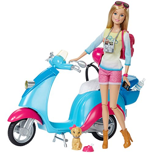 Mattel Barbie Pink Passport Travel Doll with Scooter