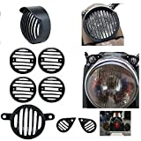 #10: AllExtreme Head light Heavy Grill With Cap & Indicator, Eyes Grill Light Grill For Royal Enfield Bullet Classic 350 / 500 - (Combo-- 8 Items)