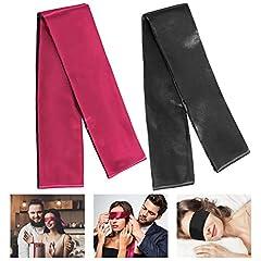 Idea Regalo - Whaline, confezione da 2 bende in raso per gli occhi, mascherine per dormire da 150 cm (nera e rossa)