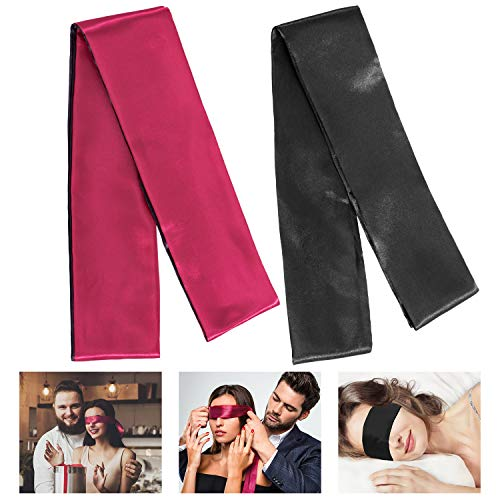 Whaline Satin Masque de nuit, Masque de Sommeil, Bandeau de sommeil pour Noir et rouge, 150 cm