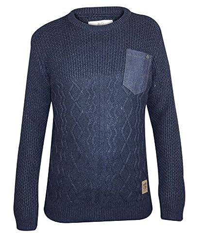 Mens Crosshatch Heysham Cable-Knit Jumper Top Dress Blue Extra Small