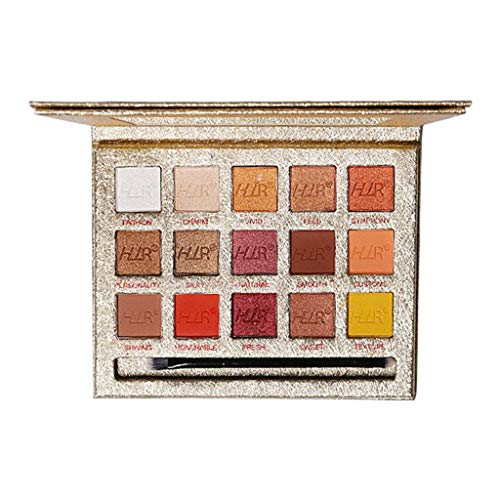 fasloyu 15 Colors of Eye Shadow, Color Makeup Mesh Champagne Gold Foil Shadow Tray, Pigment Eyeshadow Palette Nude Beauty Makeup (mehrfarbig) Sparkling Shield