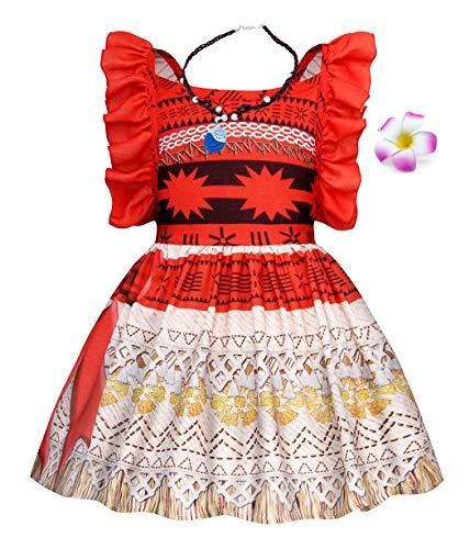 AmzBarley Moana Kostüm Kleid Kinder Mädchen Abenteuer Outfit Cosplay Kleidung Prinzessin Kleider Rock Gesetzt Halloween Karneval Verrücktes Kleid Geburtstag Party Ankleiden Blume Halskette