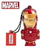Tribe Disney Marvel Avengers Iron Man - Memoria USB 2.0 de 16 GB Pendrive Flash Drive de Goma con Llavero, Color Rojo