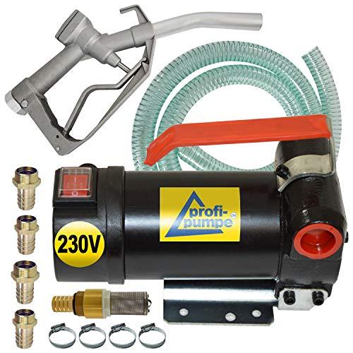 230V- Dieselpumpe und Heizölpumpe Ölpumpe Biodiesel Diesel Star 160-4 Elektro Fasspumpe mit 6m flexibler Schlauch, Aluminium Zapfpistole und Hochweritigem Zubehör, Messing-RV
