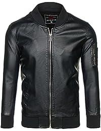 BOLF – Veste – Faux cuir – Fermeture éclair – Biker – Motif – Homme [4D4]