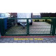 Hochwertiges, 2-flügeliges Tor / Grün beschichtet / Tor-Einbau-Breite: 250 cm - Tor-Einbau-Höhe: 123 cm - Inklusive 2 Pfosten (60mm x 60mm) / Einfahrtstor Gartentor Mattentor