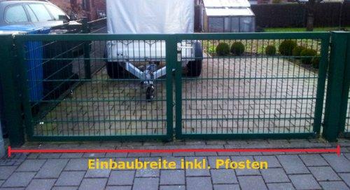 Hochwertiges, 2-flügeliges Tor / Grün beschichtet / Tor-Einbau-Breite: 200 cm - Tor-Einbau-Höhe: 143 cm - Inklusive 2 Pfosten (60mm x 60mm) / Einfahrtstor Gartentor Mattentor