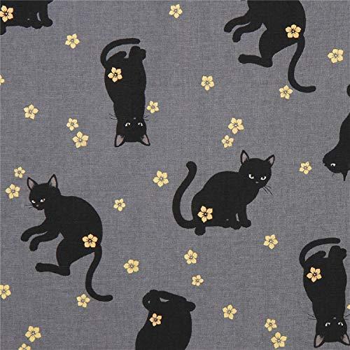 Cosmo Grauer Stoff mit Katzen und Kleinen Blüten von Quilt Gate -