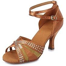HIPPOSEUS Damen & Mädchen Sandalen Ausgestelltes Tanzschuhe/Ballsaal Standard Strasssteine Satin Latein Dance Schuhe,DEAF420