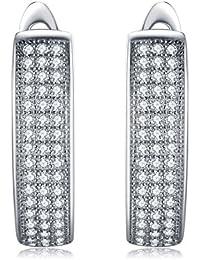 JewelryPalace 925 de plata esterlina cúbicos Zirconia Eternidad pendiente conjunto de clip en
