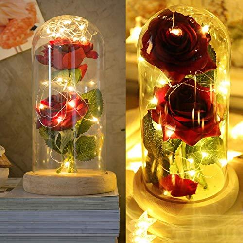 A Rose Rouge, PéTales De Rose Et Cloche En Verre Sur Un Socle En Bois , #42
