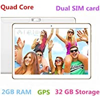 10 Inch Android 7.0 Tablet PC 3G Phablet Support Netflix Youtube Octa Core 32GB ROM 2GB RAM Call Phone Tablet PC, Unlocked Dual Sim Card Slots, GPS, WIFI, Resolution 1280X800 display TYD-107-White