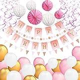 ARTISTORE Dekorationen Zum Geburtstag, 30 x Luftballons, 1 x Dreieck, 1 x Runde Flagge, 3 x Laterne Origami(Rose), 3 x Wabenkugeln (weiß), Band Rosa (1 Beutel), 1 x Banner Happy Birthday