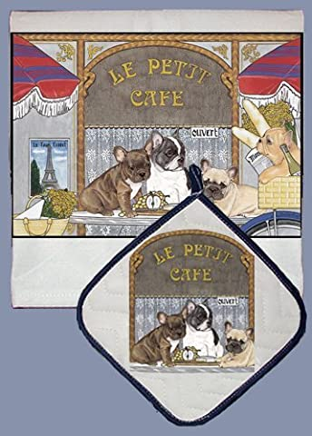Pipsqueak Productions DP971 Dish Towel and Pot Holder Set - French Bull Dog by Animal Den