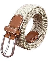 Oyccen Unisexo Lona Elástico Cinturones con Hebilla Trenzado Correas de Cintura para Hombres y Mujeres