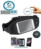 Bauchtasche für Damen & Herren, Laufgürtel, Lauftasche von Becksports Running Beck Touch mit wasserabweisenden Fach für Smartphone iPhone 6 7 8 X Plus, Samsung S7 S8 S9 Geld & Schlüssel