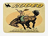 Doormats Retro Bath Mat, Old Style Art of Rodeo Cowboy Riding Horse American Wild West Artistic Work, Plush Bathroom Decor Mat with Non Slip Backing, 23.6 W X 15.7 W Inches, Yellow Brown Orange