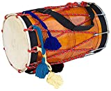 Holz-Musiktrommel Mangoholz, natürliches Barrel-Form, Schlägel aus Nylon, Schulterriemen Punjabi Bhangra Dhol Musikinstrument