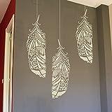 Waldfeder Wandschablone - Feder Schablone fur wand - Wand schablonen groß - Malerschablonen