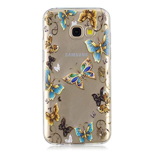 Herbests Kompatibel mit Handy Tasche Galaxy A5 2017 Silikon Hülle Durchsichtige Schutzhülle Crystal Clear Transparent Ultra Dünn Handyhülle Silikonhülle Kristall Klar TPU Bumper,Blau Schmetterling