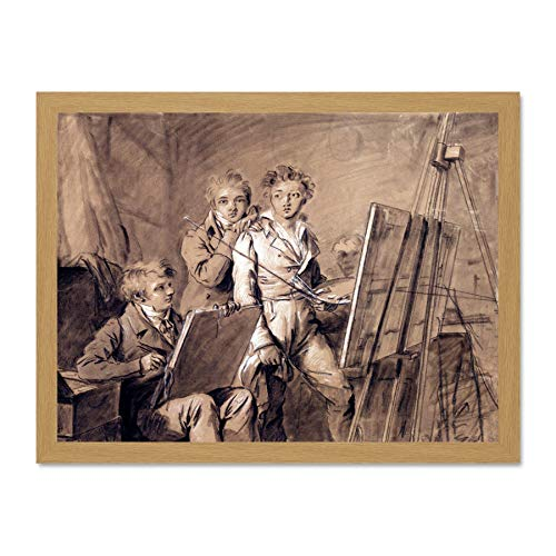 Beige Artist Studio (Doppelganger33 LTD Painting Chalk Boilly Three Artists Studio Large Framed Art Print Poster Wall Decor 18x24 inch Supplied Ready to Hang Malerei Künstler Wand Deko)