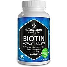 Biotina, crecimiento del cabello + selenio + zinc, para piel, cabello y uñas sanos, 365 comprimidos para 1 año, elevada concentración de biotina (vitamina B7), 10.000 mcg, producto alemán de calidad, ahora a un precio promocional y devolución gratuita durante 30 días, paquete individual (1 x 91,25 g)