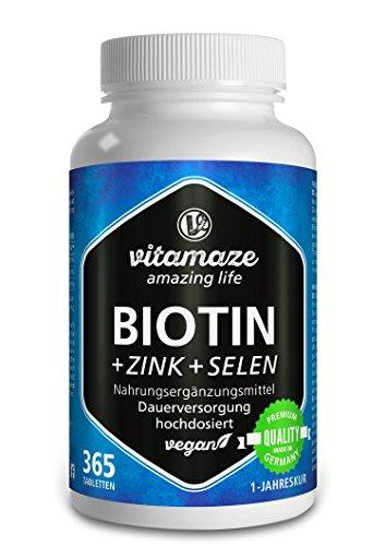Biotina 10000 mcg de dosis alta + Selenio + Zinc para crecimiento del cabello, cabello y uñas | 365 tabletas veganas para 1 año | hecho en Alemania