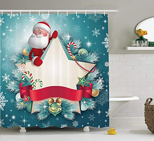 Christmas Shower Curtain, Santa Claus Star Banner Snowflakes Ribbon and Candy Cane Tree Winter Season Theme, Fabric Bathroom Decor Set with Hooks, 72x72 inches, Red White Blue Ribbon Candy
