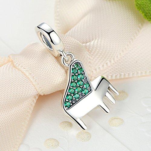 Everbling Charm Piano Lover grün cz baumeln 925Sterling Silber Bead für Pandora Charm Armband - 4