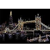 Art à Gratter, Londres Pont de la tour Attractions célèbres Art Arc en Ciel Scratch Paper Papier Photo D'architecture pour Les Enfants de peintures murales Faites à la Main Adultes,Black
