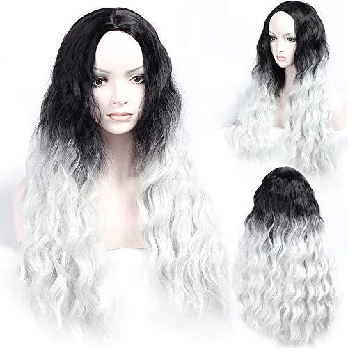 ockly Hair, Lady Gradientenwig Schwarz und Grau Kleine Lockly Hair Halloween Party Kleid Natural Realistisch Flauschige Mädchen Frisur ()