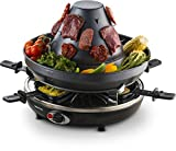 Gourmia Electric Raclette - Table-Top Party Grill - 6 Person - Vertical Grilling