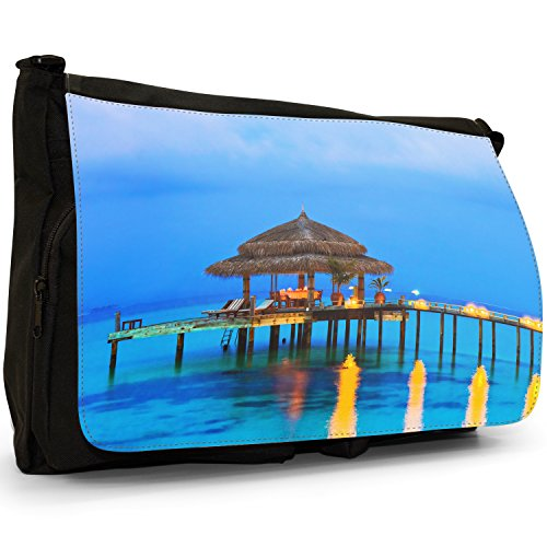 Fancy A Bag Borsa Messenger nero Sunset On Tropical Palms In Thailand Gorgeous Water Cafe With Lighted Candles
