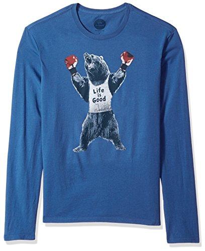 Life is Good Herren Long Sleeve glatten Tee Bär Boxer vtgblu T-Shirt,,, Herren, blau vintage (Bar Long Sleeve T-shirt)