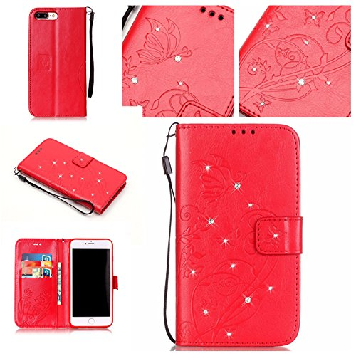 Cover per iPhone 7 Plus,per iPhone 8 Plus Custodia, ZCRO Cover Portafoglio Flip Cuoio in Pelle a Libro Case con Farfalle Brillantini Glitter Bling Diamante Strass Magnetica Elegante Caso Custodia Prot Rosso