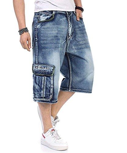 Men Plus Size Loose Baggy Short Jeans for Men Boy Hip Hop Skateboard Pants for Rappers Rap Trousers Blue Hip Hop Large 30-46