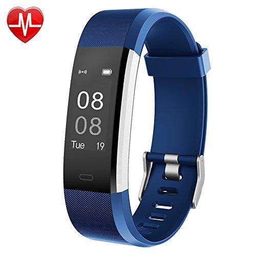 Yamay - Pulsera de actividad impermeable con pantalla grande de 0,96 pulgadas, pulsómetro, podómetro, monitor del sueño, monitor de calorías, notificación de llamadas/SMS/Whatsapp y Bluetooth, compatible con móviles Android e iOS