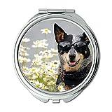 Yanteng Spiegel, Compact Spiegel, Terrier Yorkie Hund Hund, Taschenspiegel, 1 X 2X Vergrößerung