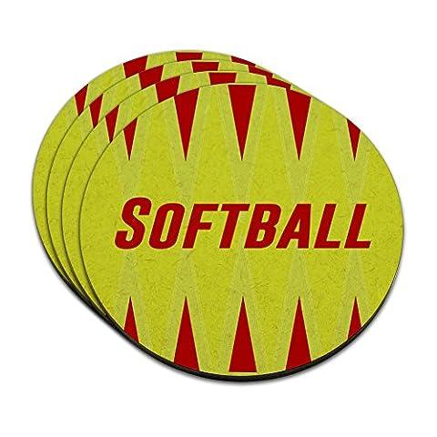 Softball Let's Play MDF Wood Coaster Set of