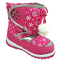 Girls Winter Fleece Lined Snowflake Pom Pom Snow Boots Shoe Sizes From 3 To 10