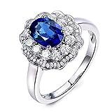 KnSam Frauen Ring Sterling Silber 925 für Damen Trauringe mit Saphir Zirkonia Jahrestag Echtschmuck Gr. 64 (20.4) inkl. Geschenkbox