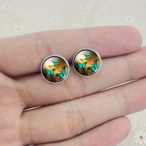 Frauen Jahrgang Uhr Grün Schmetterling Ohrstecker Ohrringe - 4