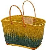 korb.outlet Große Strandtasche Afrika/Bunte Einkaufs-Tasche mit Leder-Griffen/Sisal Bast-Korb Multicolor mehrfarbig (Gelb-Blau)