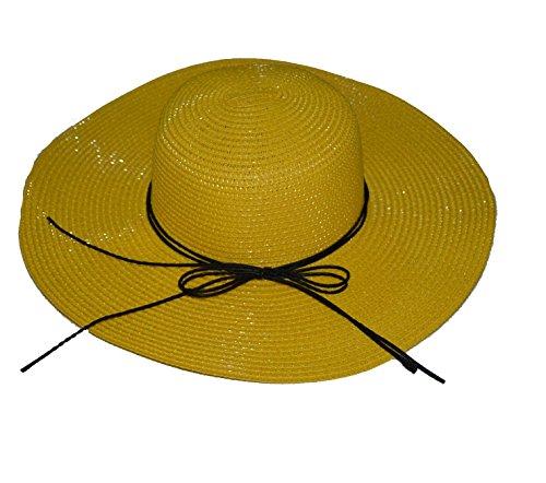 Pisco de paille Sun pour fille Chapeaux Sun chapeaux (6 couleurs) jaune