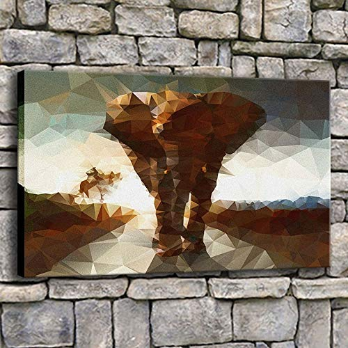 haotong11 Wohnkultur Leinwand Fotos 1 stück Elefanten Mosaik Hintergründe Malerei Drucke Künstlerische Abstrakte Tier Poster Hotel Wandkunst 50x75 cm