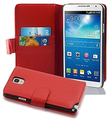 Cadorabo - Etui Housse pour Samsung Galaxy NOTE 3(N9005) - Coque Case Cover Bumper Portefeuille (avec fentes pour cartes) en ROUGE