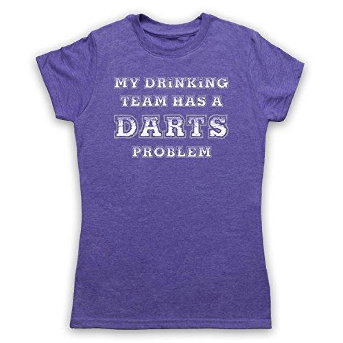 My Drinking Team Has A Darts Problem Funny Darts Slogan Damen T-Shirt Jahrgang Violett