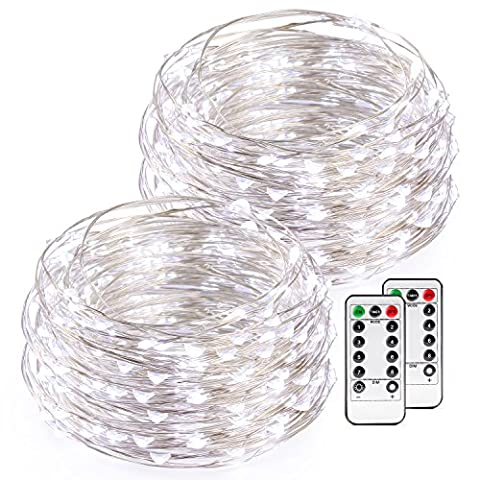 Kohree White Christmas String Lights with Remote Control, AA Battery Powered on 16.4ft/5M Long Ultra Thin String Copper Wire,50 Led Rope Lights For Christmas, Wedding,Parties With Battery Box,2